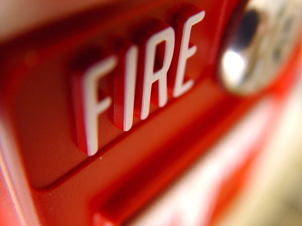 Close-up of a fire alarm.